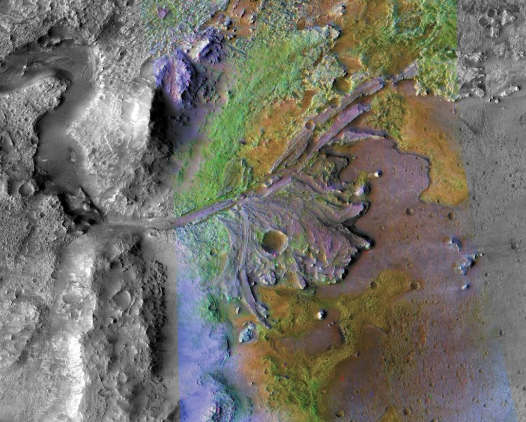 Delta wyschniętej rzeki wewnątrz krateru Jezero - rejon lądowania misji Mars 2020 / Credits - NASA/JPL/JHUAPL/MSSS/Brown University