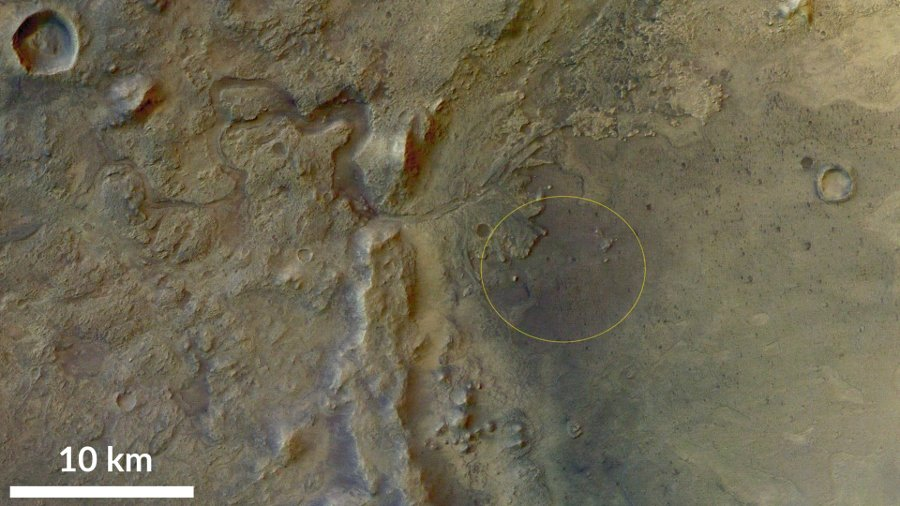 (Wstępna) elipsa lądowania dla misji Mars 2020 / Credits - Emily Lakdawalla, Planetary Society