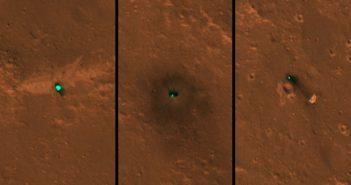 Lądownik, osłona termiczna i spadochron misji InSight okiem MRO / Credits - NASA/JPL-Caltech/University of Arizona