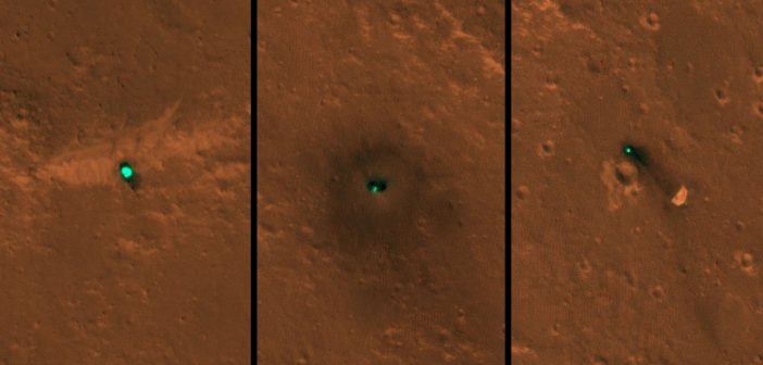 Osłona termiczna, lądownik i spadochron misji InSight okiem MRO / Credits - NASA/JPL-Caltech/University of Arizona