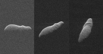 Obrazy radarowe 2003 SD220 z odległości pomiędzy 4,5 a 3,6 miliona km od Ziemi / Credits - NASA/JPL-Caltech/GSSR/NSF/GBO