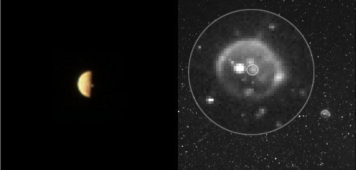 Juno obserwuje Io (21.12.2018) - po lewej zdjęcie z JunoCam przed zaćmieniem, po prawej Io w cieniu Jowisza. Na prawym zdjęciu w powiększeniu można zobaczyć kilka aktywnych wulkanów na powierzchni Io / Credits - NASA/JPL-Caltech/SwRI
