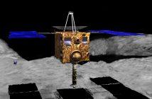 Wizja artystyczna sondy Hayabusa 2 tuż nad powierzchnią planetoidy Ryugu / Credits - JGarry, ISAS