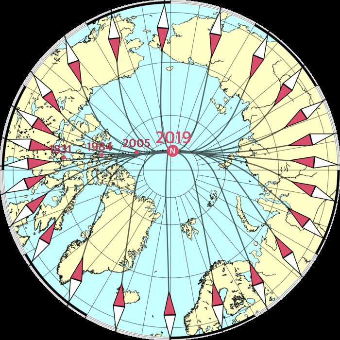 Ruch magnetycznego bieguna północnego / credits: DTU Space