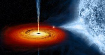 """Grafika prezentująca czarną dziurę """"wysyającą"""" materię z pobliskiej gwiazdy / Credits - NASA/CXC/M.Weiss"""