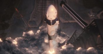 Grafika prezentująca start rakiety Falcon 9 z kapsułą Dragon 2 / Credits - SpaceX