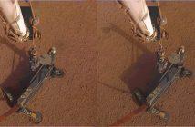 Drobna zmiana pozycji HP3 wskutek pierwszego wbijania Kreta w marsjańską powierzchnię / Credits - NASA/JPL-Caltech