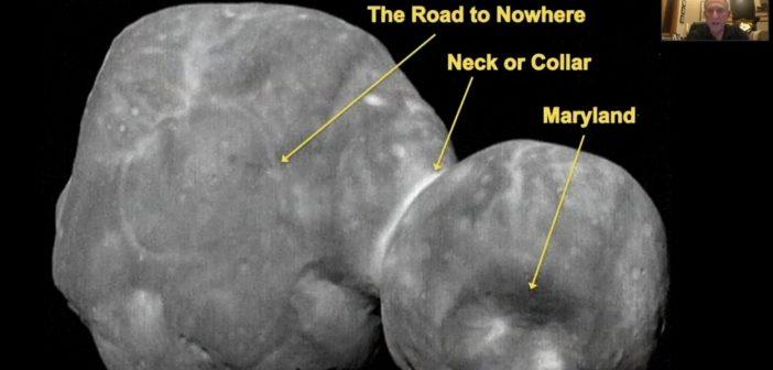 Dr Alan Stern z misji New Horizons przedstawia niektóre szczegóły powierzchni 2014 MU69 / Credits - SETI Institute