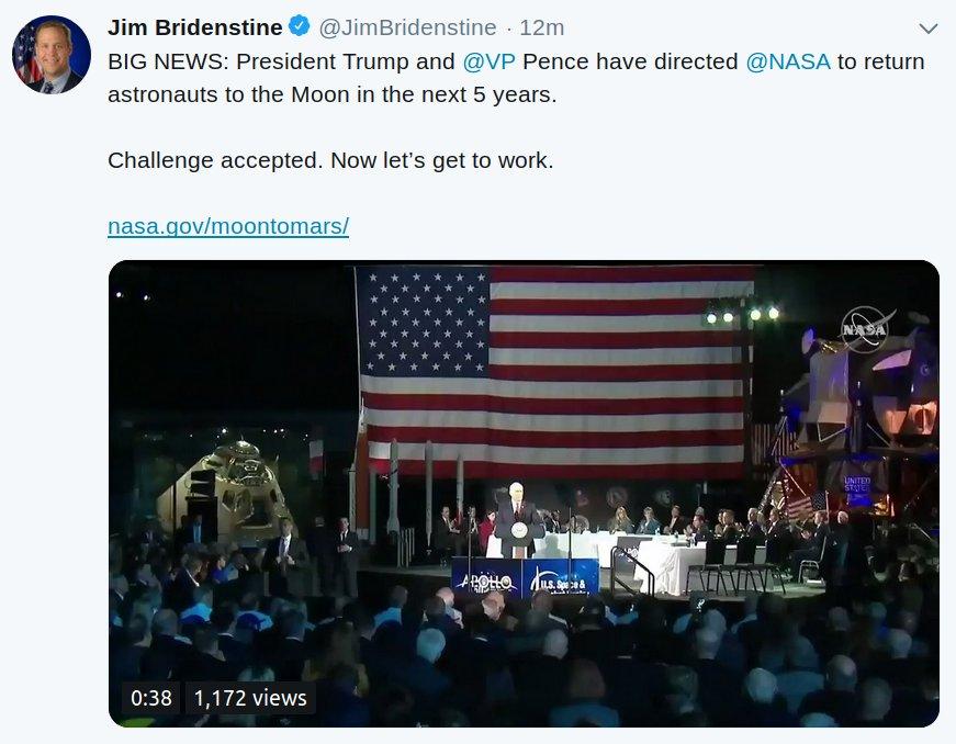 Tweet administratora NASA dotyczący powrotu człowieka na Księżyc / Credits -Jim Bridenstine