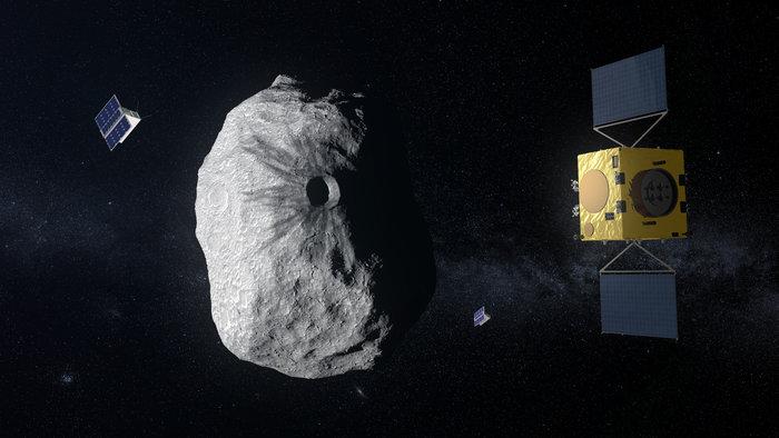 Hera na tle planetoidy Didymos / credits: ESA–ScienceOffice.org