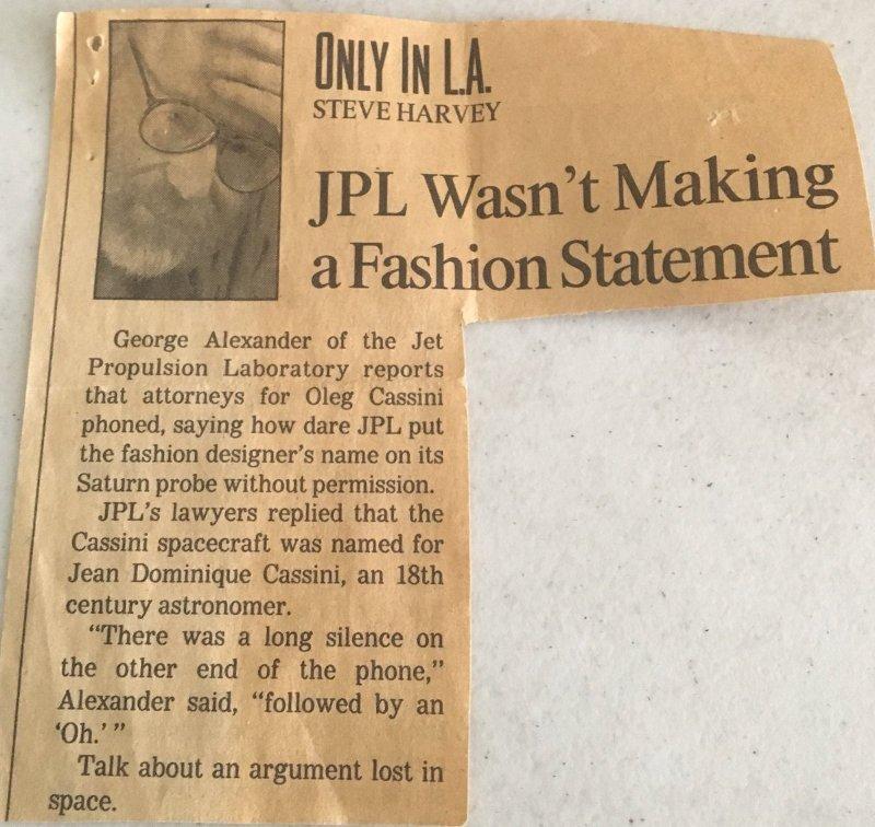 Wycinek gazety z lat 90. XX wieku o Olegu Cassini i misji Cassini / Credits - Trina Ray