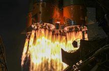 Ujęcie na silniki pierwszego stopnia rakiety Sojuz-2.1a, wykonane podczas startu z Bajkonuru w dniu 4 kwietnia 2019 / Credits - Roskosmos