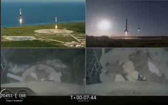 Tuż przed lądowaniem członów pobocznych Falcona Heavy - 12.04.2019 / Credits - SpaceX