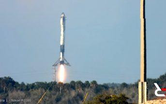 Lądowanie jednej z rakiet pobocznych - drugi start Falcona Heavy / Credits - Reds Rhetoric