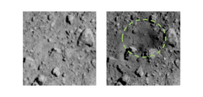 Nowy krater na powierzchni Ryugu (po prawej) oraz porównanie stanu przed impaktem (po lewej)/ Credits - JAXA