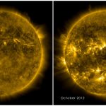 Porównanie aktywności słonecznej na początku cyklu oraz podczas pierwszego maksimum w 24 cyklu / Credits - NASA, SDO