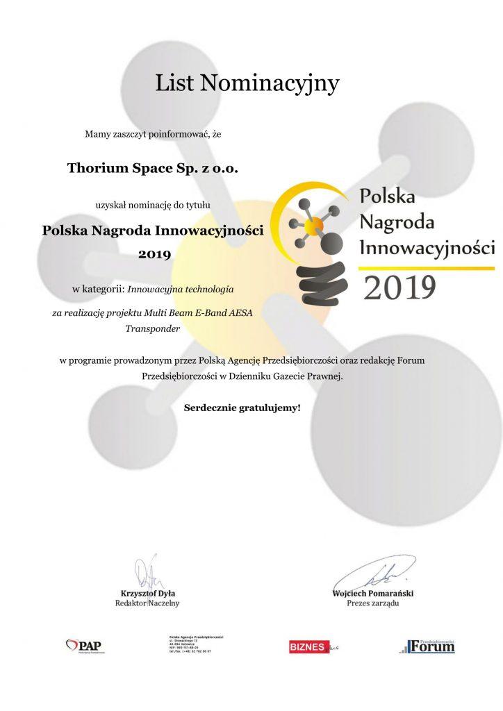 Nominacja dla Thorium Space do Polskiej Nagrody Innowacyjności 2019 / Credits - Polska Agencja Przedsiębiorczości i Forum Przedsiębiorczości