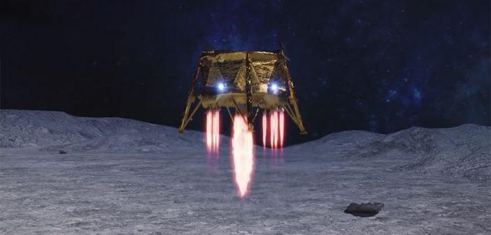 Grafika prezentująca Beresheet tuż przed lądowaniem na Ksieżycu / Credits - SpaceIL