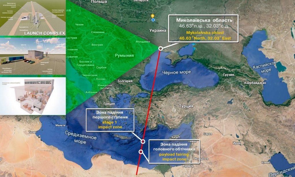 Proponowana trajektoria lotu rakiety Cyklon-1M (start z Ukrainy) / Credits - Biuro Konstrukcyjne Jużnoje