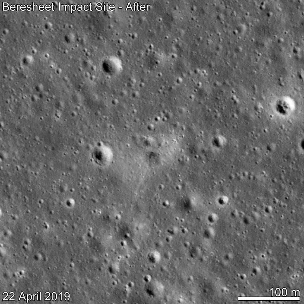 Miejsce impaktu lądownika Beresheet - zdjęcie z 22 kwietnia 2019 / Credits - NASA/GSFC/Arizona State University
