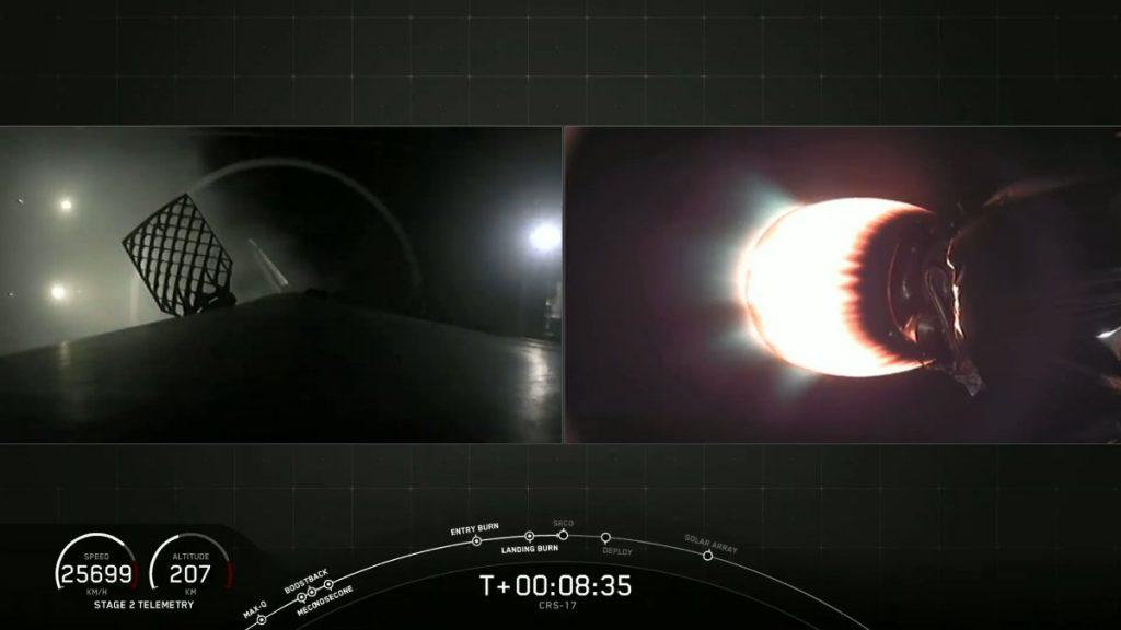 Pierwszy stopień (po lewej) tuż po lądowaniu na platformie morskiej, drugi stopień (po prawej) kończy swoją pracę - misja CRS-17 / Credits - SpaceX