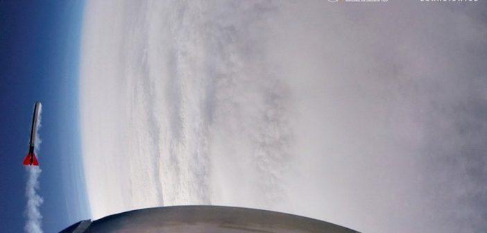 Ujęcie wykonane podczas drugiego lotu rakiety ILR-33 Bursztyn / Credits - Instytut Lotnictwa