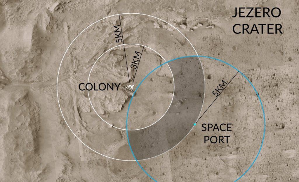 Proponowana pozycja bazy Twardowsky wewnątrz krateru Jezero / Credits - PWr, zespół Twardowsky