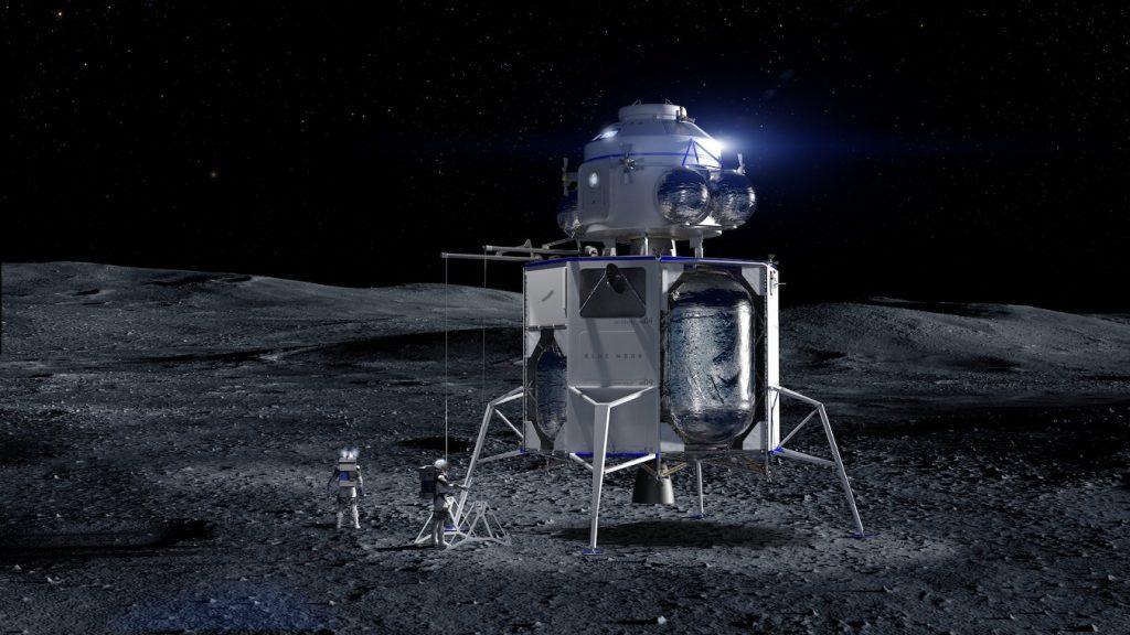 Grafika prezentująca załogową wersję lądownika Blue Moon / Credits - Blue Origin