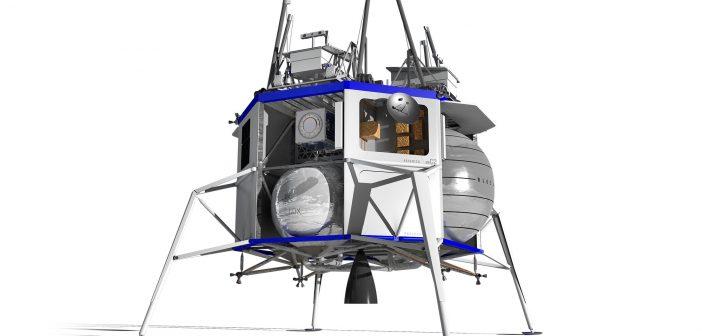 Grafika prezentująca bezzałogową wersję lądownika Blue Moon / Credits - Blue Origin