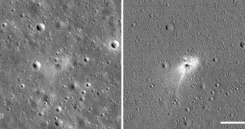 """Miejsce impaktu lądownika Beresheet - po prawej """"wzmocniony"""" obraz, uwydatniający zaburzony teren (skala w rogu - 100 metrów) / Credits - NASA/GSFC/Arizona State University"""