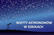 """Ilustracja do projektu """"Wizyty astronomów w szkołach"""". Jako tło wykorzystano rysunek: Annalise Batista / Pixabay. Źródło: PTA/IAU100"""