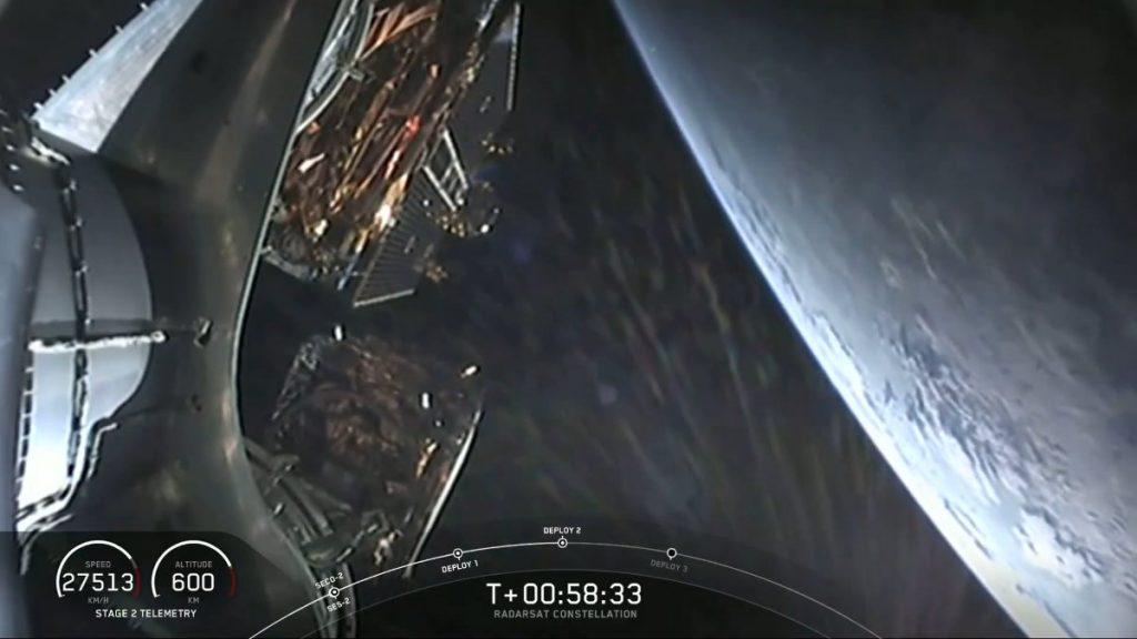 Uwolnienie drugiego z trzech satelitów konstelacji RADARSAT / Credits - SpaceX