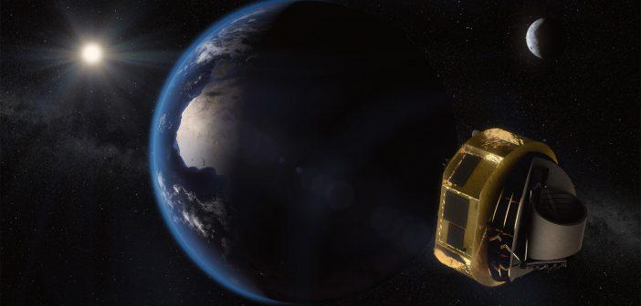 Wizja artystyczna teleskopu ARIEL w drodze do miejsca z którego prowadzone będą obserwacje (1,5 mln km od Ziemi). Rys. ESA/STFC RAL Space/UCL/Europlanet-Science Office
