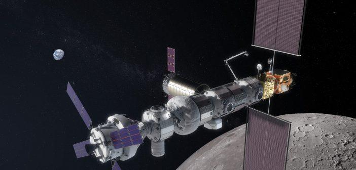 Planowana międzynarodowa stacja okołoksiężycowa Gateway, mająca stanowić przyczółek do załogowych misji księżycowych oraz marsjańskich (grafika z 2018 r.). Będzie to największe przedsięwzięcie w astronautyce po zbudowaniu stacji ISS