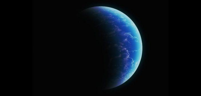 Grafika prezentująca oceaniczną egzoplanetę w całości pokrytą wodą (z niewielką ilością chmur) / Credits - K. Kanawka, kosmoanuta.net