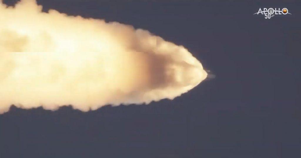 Ujęcie tuż po uruchomieniu LAS / Credits - NASA TV