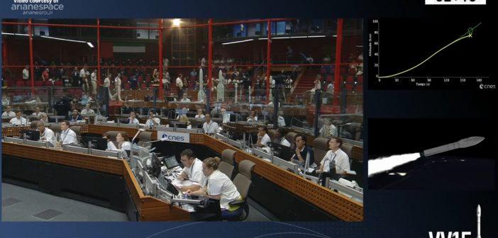 Lot rakiety Vega - 11 lipca 2019 - w prawym górnym stopniu widać nieprawidłową trajektorię rakiety / Credits - Arianespace