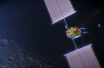 Grafika prezentująca moduł PPE krążący wokół Księżyca / Credits - NASA
