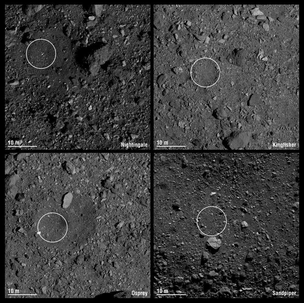 Spojrzenie na proponowane lądowiska dla sondy OSIRIS-REx / Credits - NASA/Goddard/University of Arizona