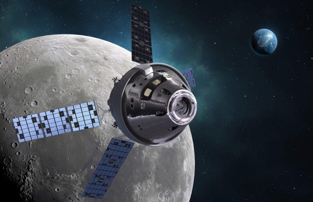 Grafika prezentująca MPCV Orion w pobliżu Księżyca / Credits - Lockheed Martin