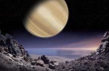 Artystyczna wizja widoku z powierzchni hipotetycznego księżyca planety pozasłonecznej BD+14 4559 b, którą przyznano Polsce do nazwania w ramach konkursu IAU100 NameExoWorlds. Rys.: M. Mizera / IAU100 / PTA.