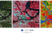 S2GLC Land Cover map in Stockholm area (right) along with unprocessed Sentinel-2 imagery in true color (left) and false color (center) compositions. Credits: CBK PAN