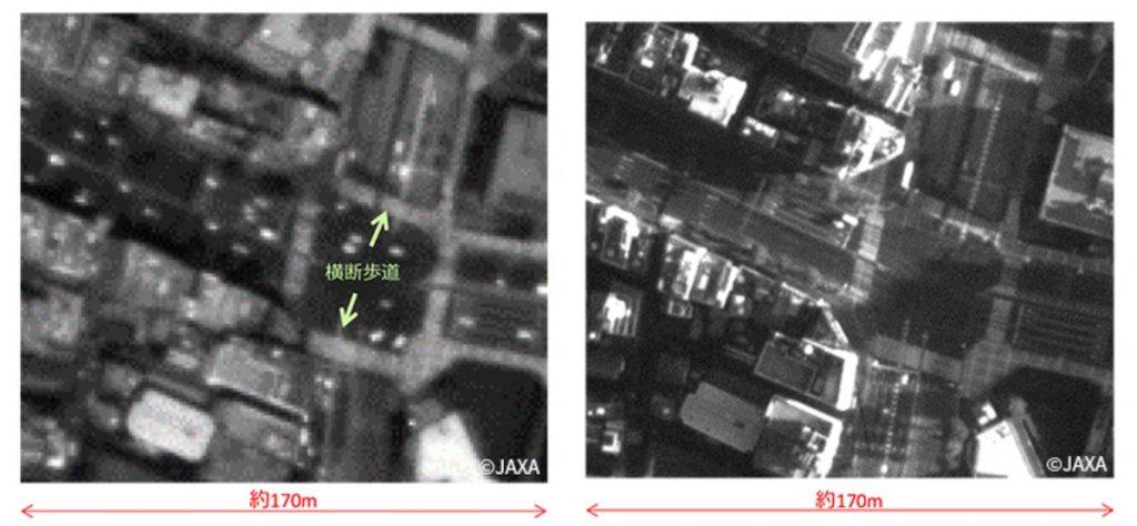 Zdjęcie wycinku Tokio z wysokości 381 km (z lewej) i 181 km (z prawej) uzyskane przez satelitę Tsubame / Credits - JAXA