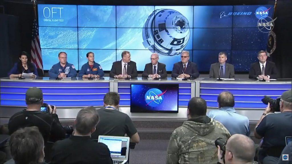 Konferencja na NASA TV dotycząca statusu misji CST-100 / Credits - NASA TV