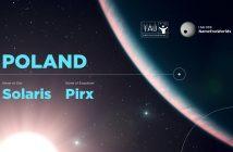 Oficjalne wyniki konkursu IAU100 NameExoWorlds dla Polski. Nazwa gwiazdy: Solaris, nazwa planety: Pirx. Źródło: IAU100.