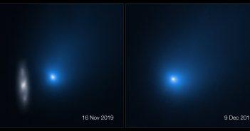 Obrazy komety 2I/Borisov w dniach 16.11.2019 i 9.12.2019. Na obrazie z 16.11 widać galaktykę. / Credits - NASA, ESA, D. Jewitt (UCLA)
