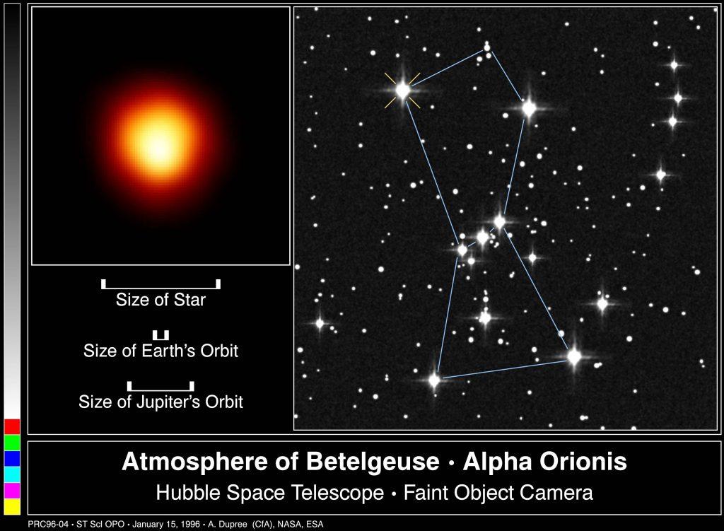 Wygląd i rozmiary Betelgezy w 1996 roku - obraz z teleskopu Hubble / Credits - Credits - HST, NASA, ESA
