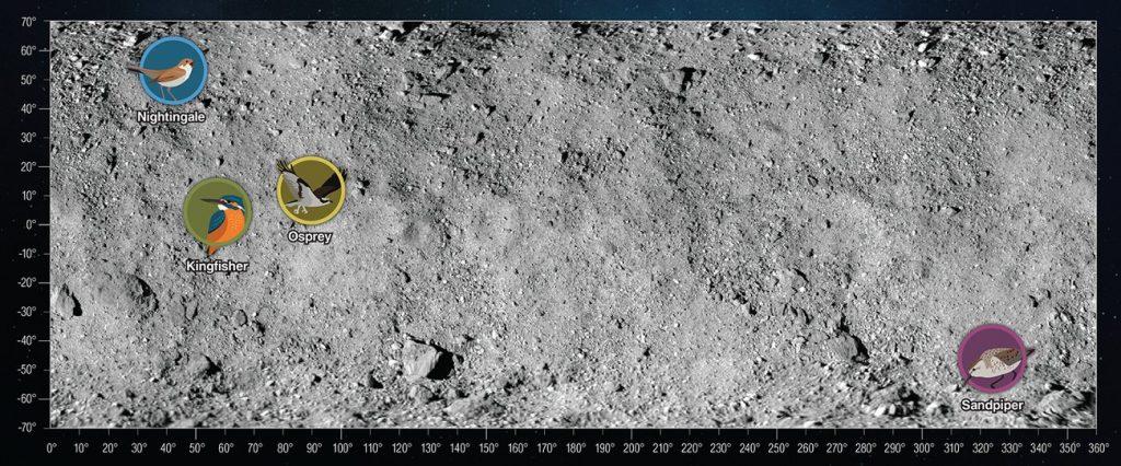 Potencjalne miejsca lądowania dla OSIRIS-REx na powierzchni Bennu / Credits - NASA/Goddard/University of Arizona