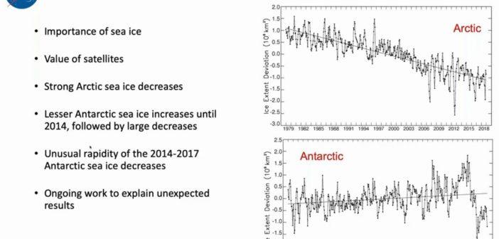 Podsumowanie zmian zasięgu lodu w Arktyce oraz Antarktydzie / Credits - AGU