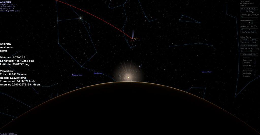 Położenie nowoodkrytej komety w dniu 26 maja 2020 roku / Credits - Celestia, Adam Hucewicz